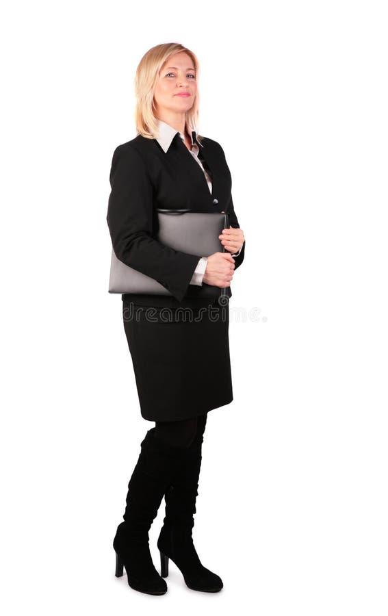 2 czarna bizneswomanu folder middleaged fotografia stock
