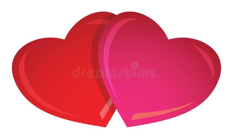 2 de harten van de valentijnskaart royalty-vrije illustratie