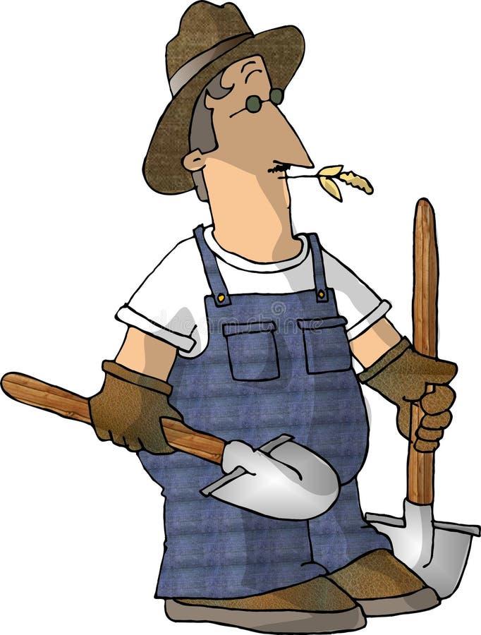 2 de Landbouwer van de schop stock illustratie