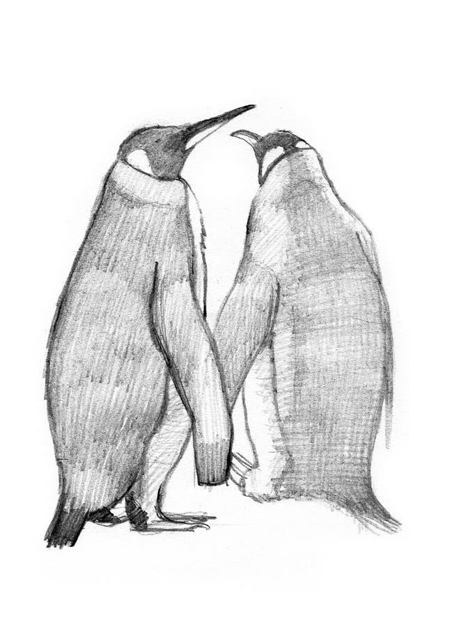 2 desenhar do rei pinguins ilustração stock