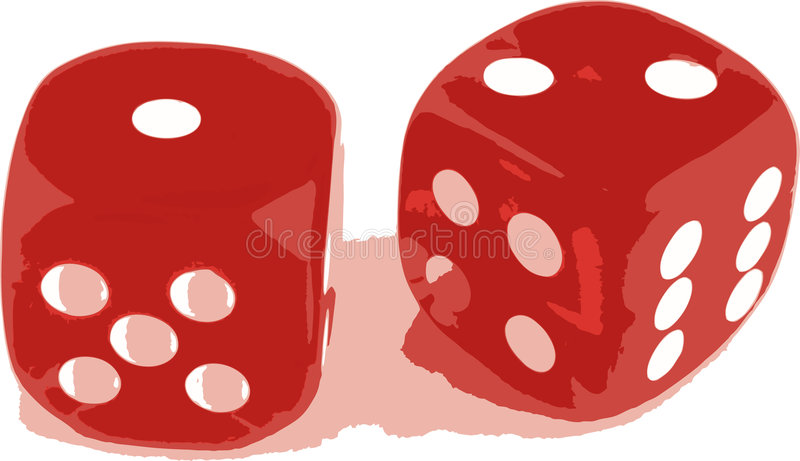 2 dice showing 1 and 2 royalty free illustration
