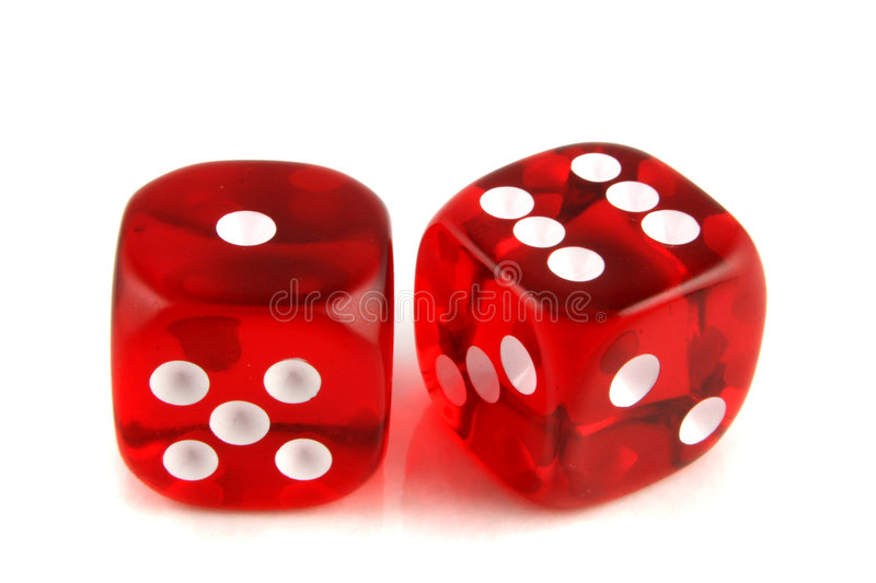 2 dice showing 1 and 6 royalty free stock images