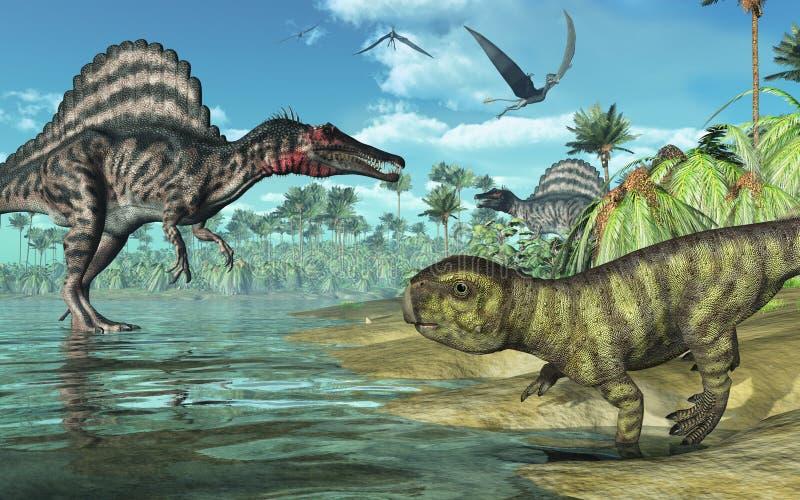 2 dinosaurów prehistoryczna scena royalty ilustracja