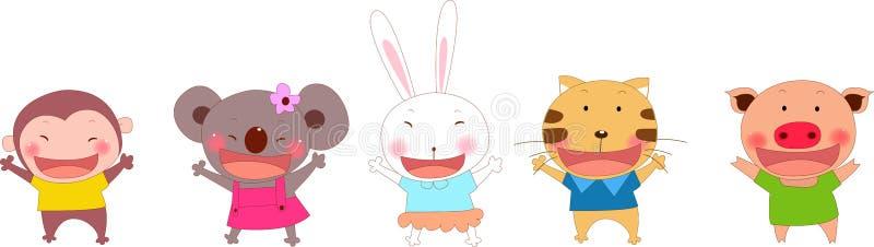 2 djura gulligt stock illustrationer
