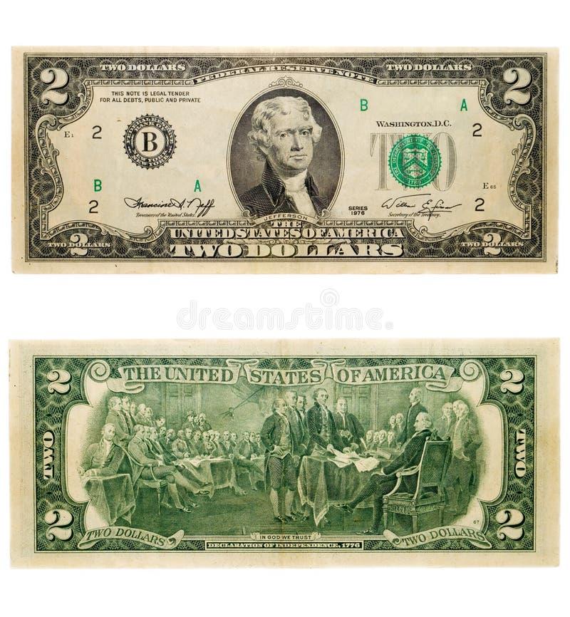 2 dollar arkivfoton