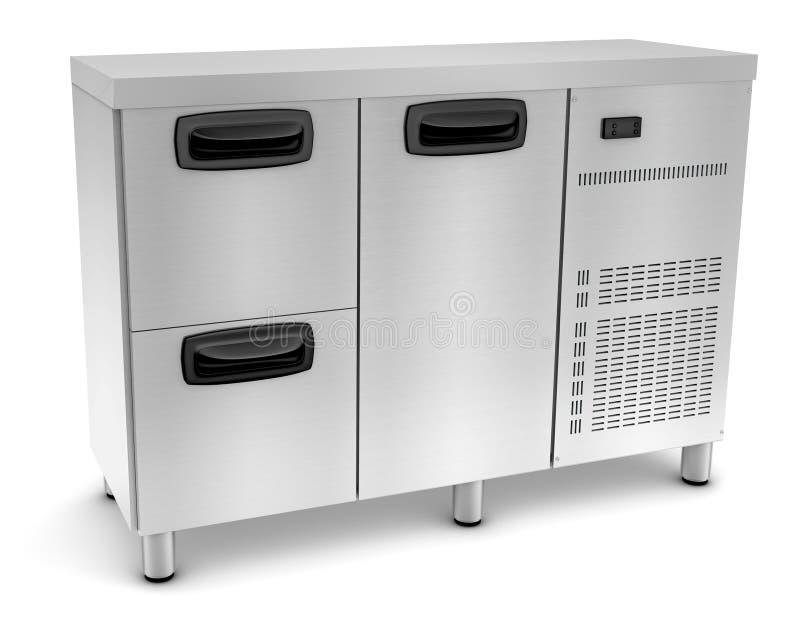 2 Drawer 1 Door Fridge. 2 drawer and 1 Door counter refrigerator steel interior and exterior vector illustration