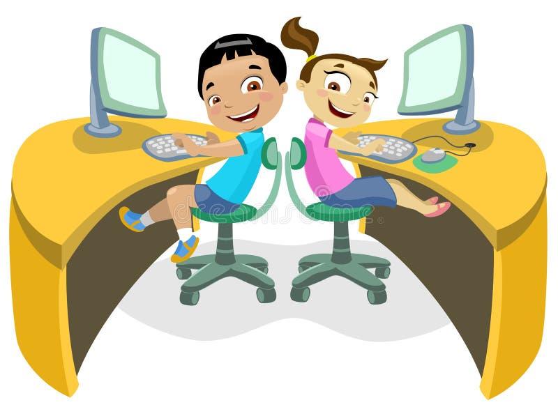2 dzieci technologia royalty ilustracja