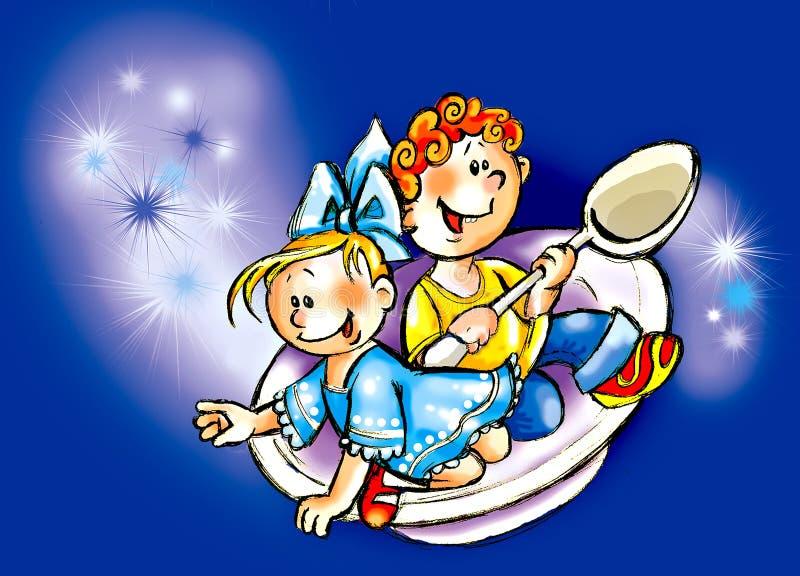 2 dzieciaka ilustracja wektor