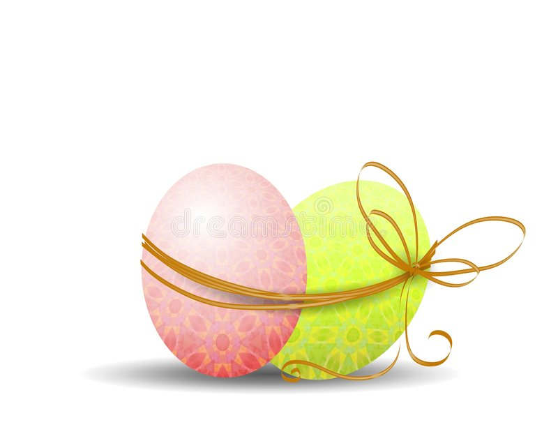 2 Easter Eggs Wrapped In String Stock Photo