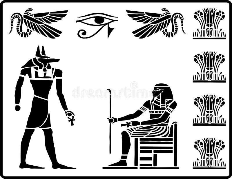 2 egyptiska hieroglyphics stock illustrationer