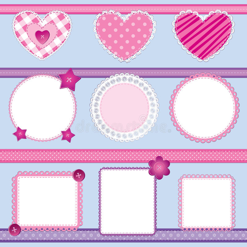 2 element pink scrapbookseten royaltyfri illustrationer