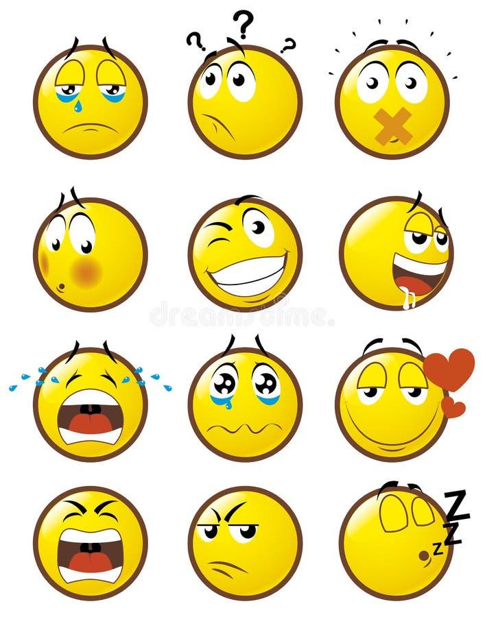 2 emoticons stock illustrationer
