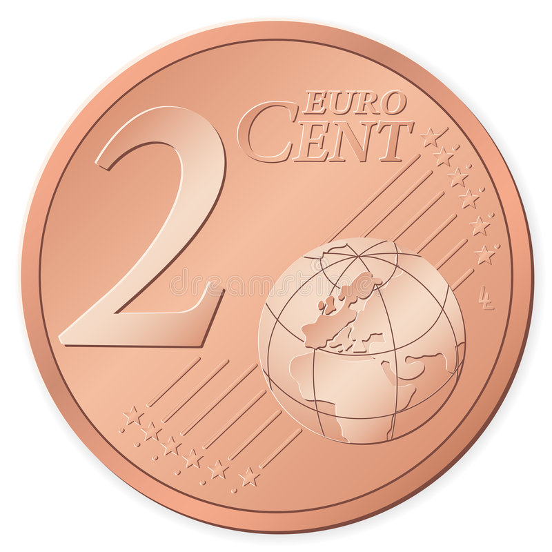 2 euro cent. Isolated on a white background. Vector illustration stock illustration