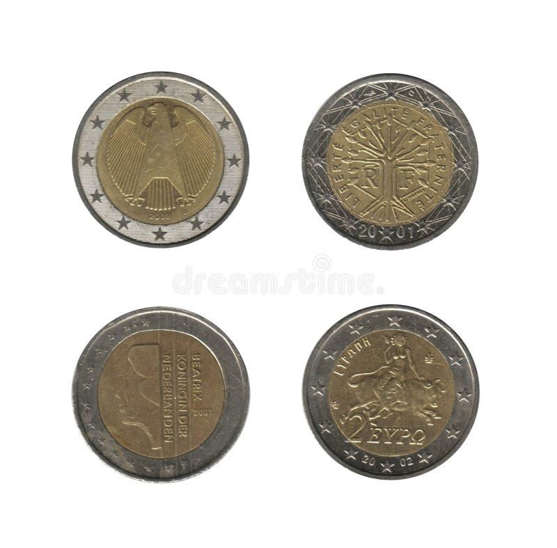 2 Euromünzen, 4 Nationen stockbilder