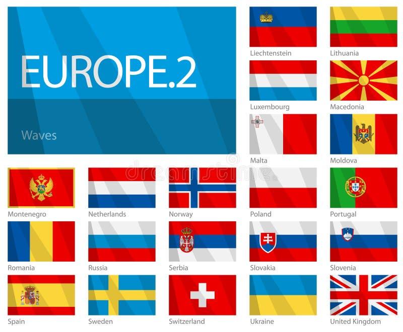 2 europeiska flaggor för länder part våg stock illustrationer