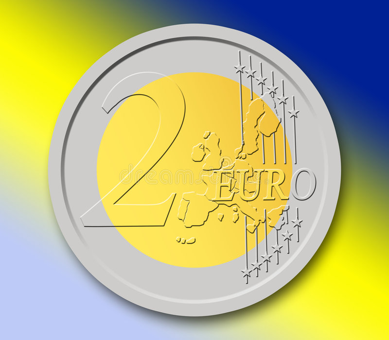 2 Euros Coin. In shape, with colorful background royalty free illustration