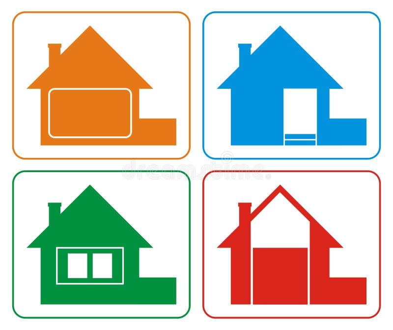 2 färger house logo stock illustrationer
