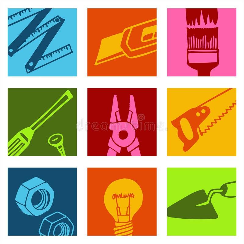 2 färgsymbolshjälpmedel royaltyfri illustrationer
