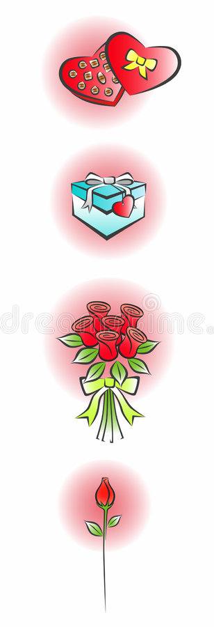 2 förälskelsedelsymboler royaltyfri illustrationer