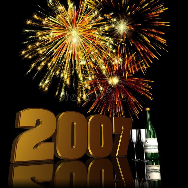 2 fajerwerki 2007 nowego roku royalty ilustracja