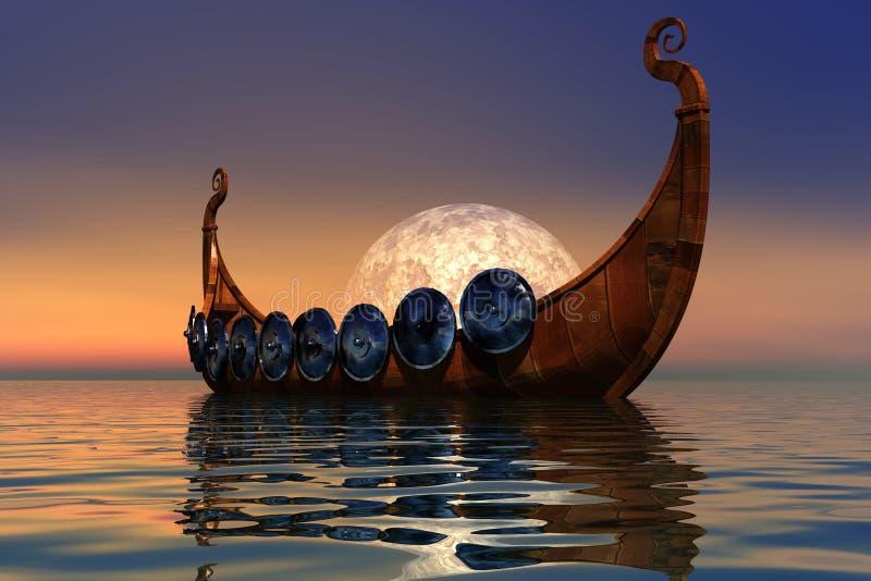 2 fartyg viking royaltyfri illustrationer