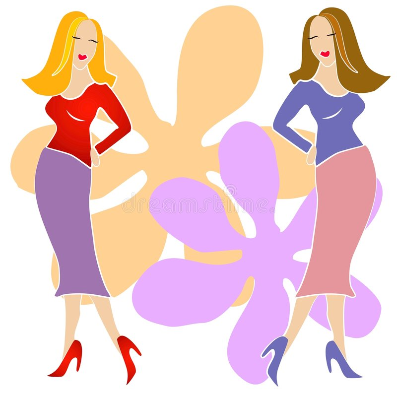 2 Fashion Girls Clip Art. An illustration clip art of 2 fashion model girls posing in colorful skirts and tops against a flower design background on white vector illustration