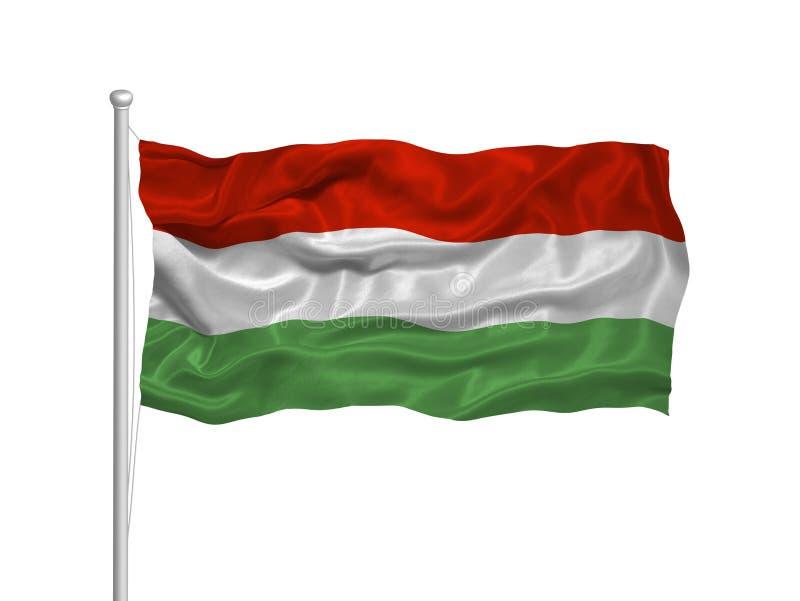 2 flagga hungary royaltyfri illustrationer