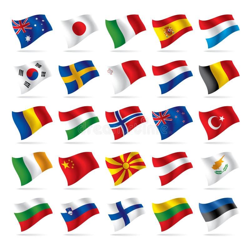 2 flagi zestaw świat ilustracja wektor