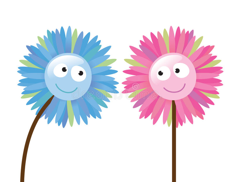 2 flowers that like each other. Illustration of two flowers that like each other stock illustration