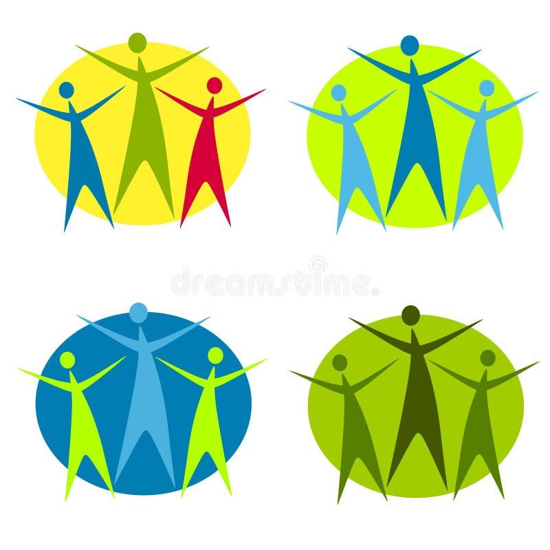 2 formie abstrakcjonistycznego ludzkiej logo ilustracja wektor