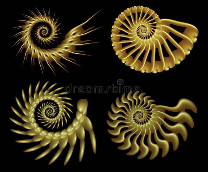 2 fyra fractalspiral stock illustrationer