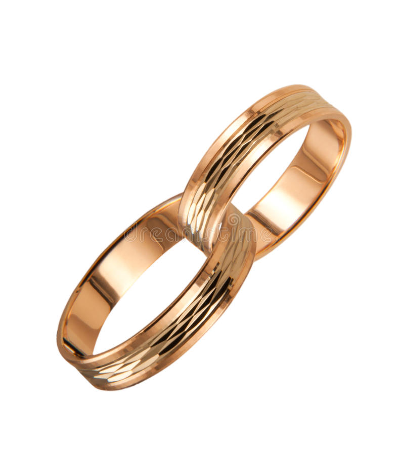 Free 2 Golden Coupled Wedding Rings Stock Photography - 15744222