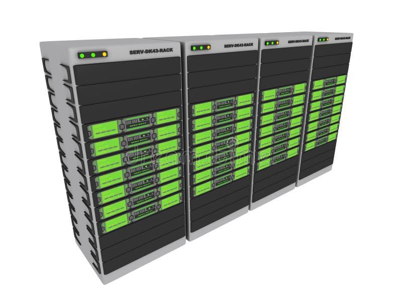 2 gröna serveror 3d royaltyfri illustrationer