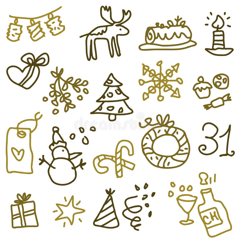 2 graphismes de Noël illustration stock
