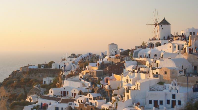 2 greków Oia santorini tradycyjnej wioski obrazy royalty free