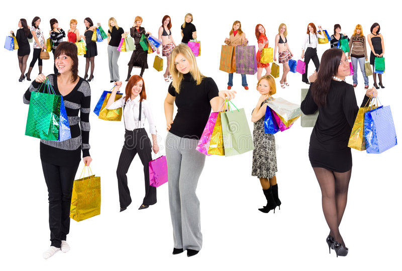 2 Groups Of Shopping Girls Royalty Free Stock Photo