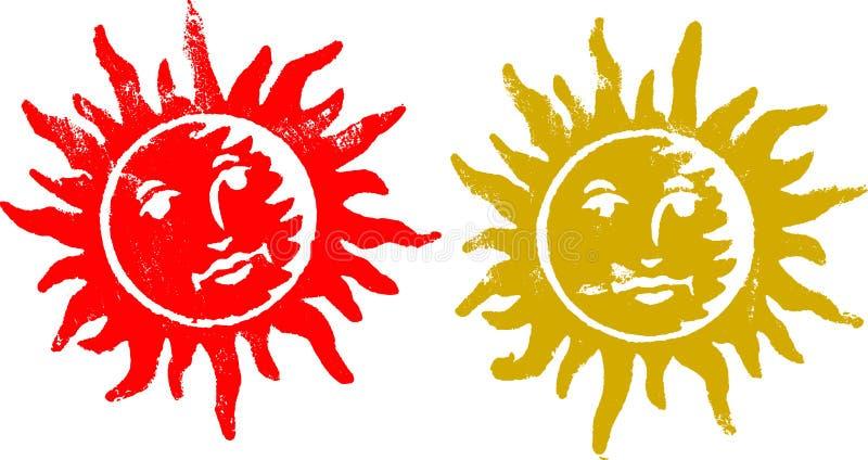 2 Grunge Sun Stempel lizenzfreie abbildung