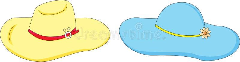 2 hattar vektor illustrationer