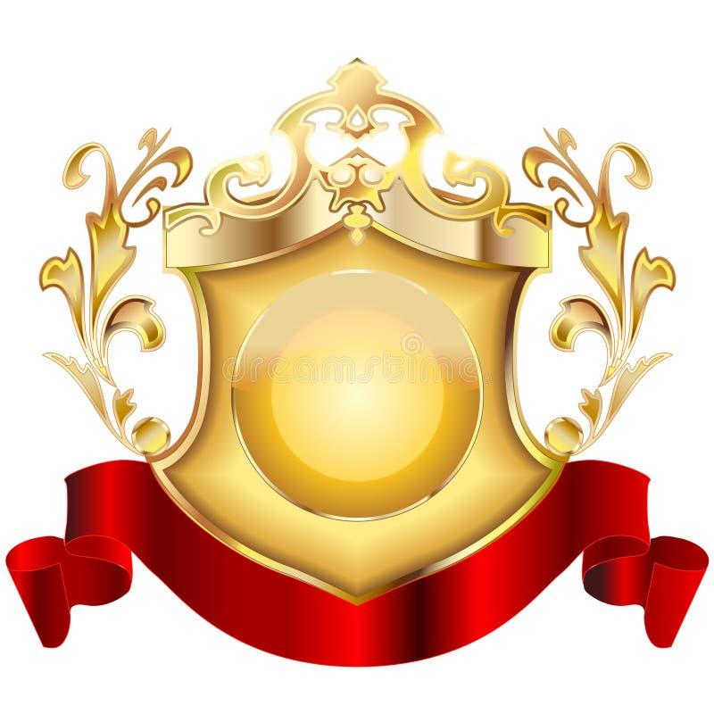 2 heraldisk sköld v royaltyfri illustrationer