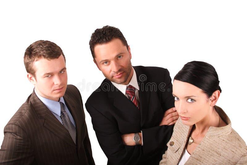 2 homens 1 equipe 2 do negócio da mulher - isolada imagens de stock royalty free