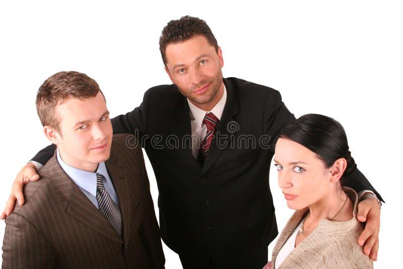 2 homens 1 equipe do negócio da mulher foto de stock royalty free