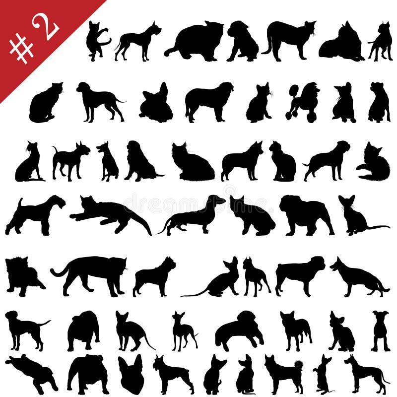2 husdjursilhouettes royaltyfri illustrationer