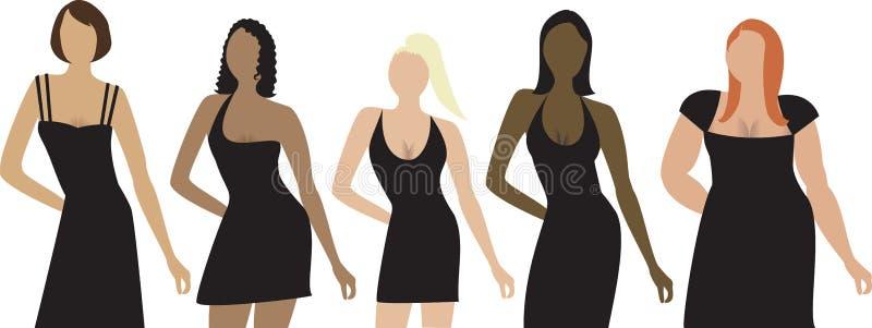 2 huvuddelkvinnligtyper vektor illustrationer