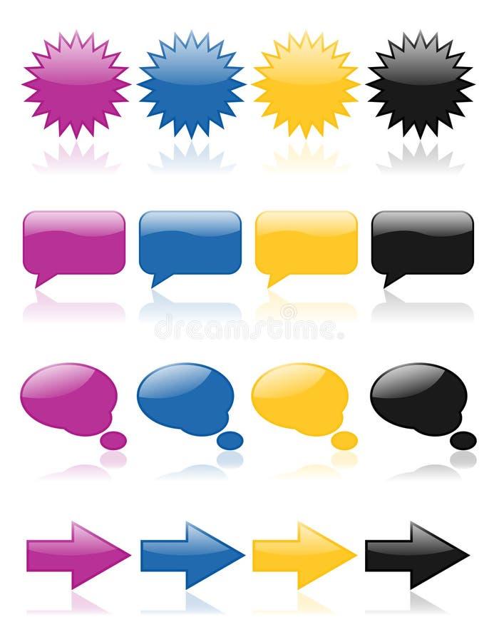 2 ikon kolorowa glansowana sieci royalty ilustracja