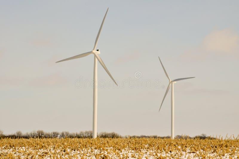 2 Indiana-Wind-Turbinen stockbilder