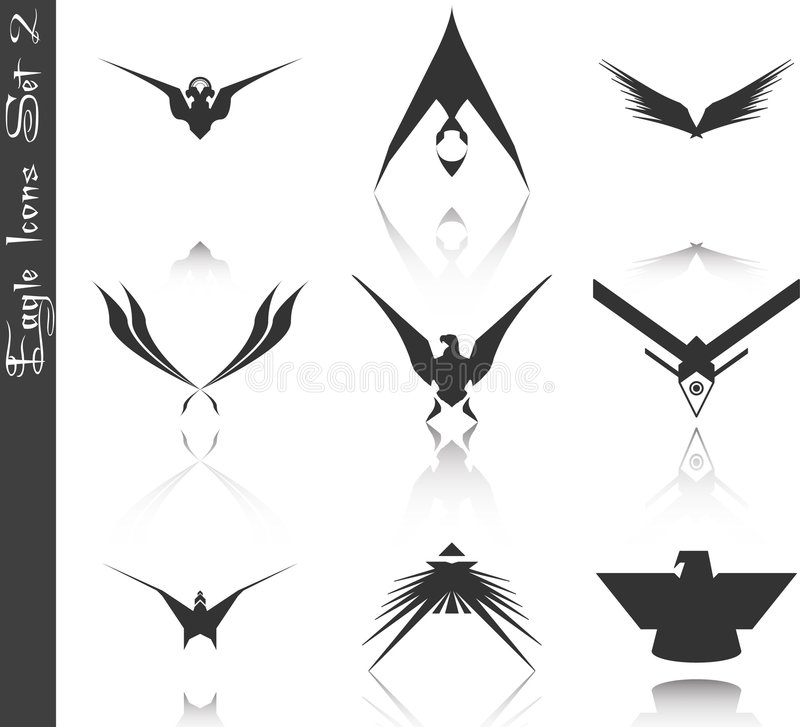 2 inställda örnsymboler vektor illustrationer