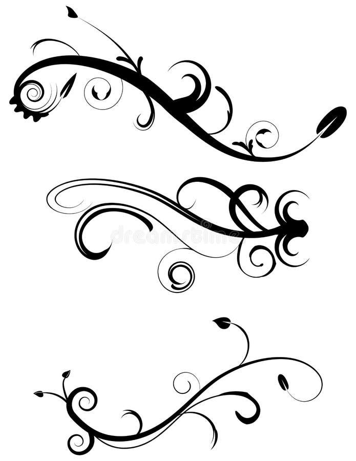 2 inställda dekorativa krusidullar stock illustrationer