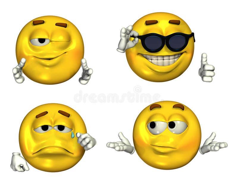 2 inställda stora emoticons 3d royaltyfri illustrationer