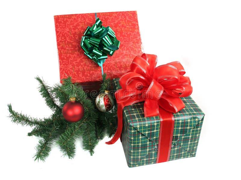 2 julgåvor arkivbild