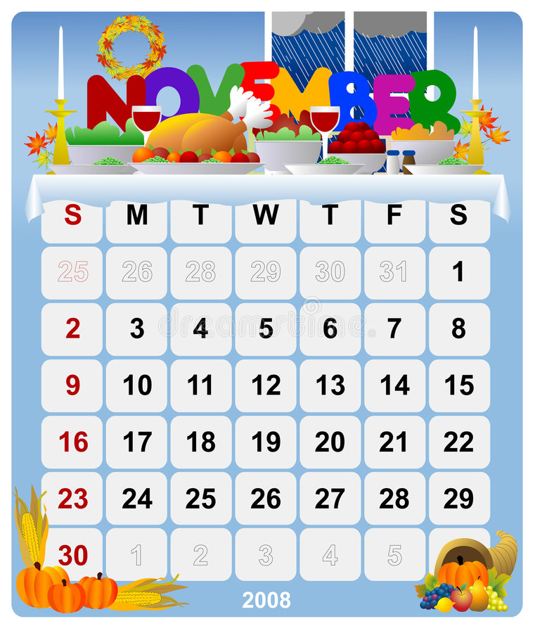 2 kalender månatliga november vektor illustrationer